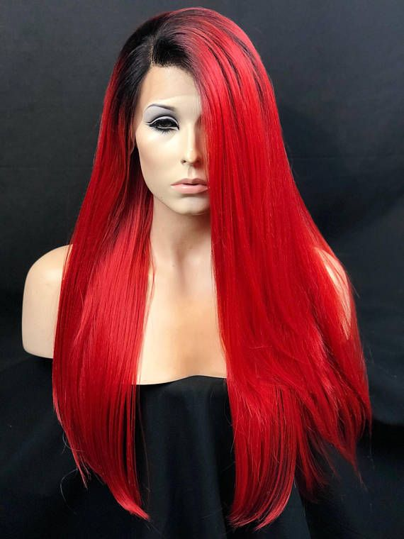 Cosplay Wig Bright Red Wig Dark Roots Red Wig Lace Front Wig Heat Safe Heat Friendly Wig Red Hair Looks Dark Roots Hair Red Hair Dark Roots
