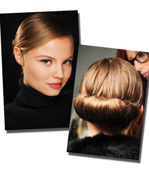 Pull tresses into a low ponytail, then tucked into itself and then pinned to secure.