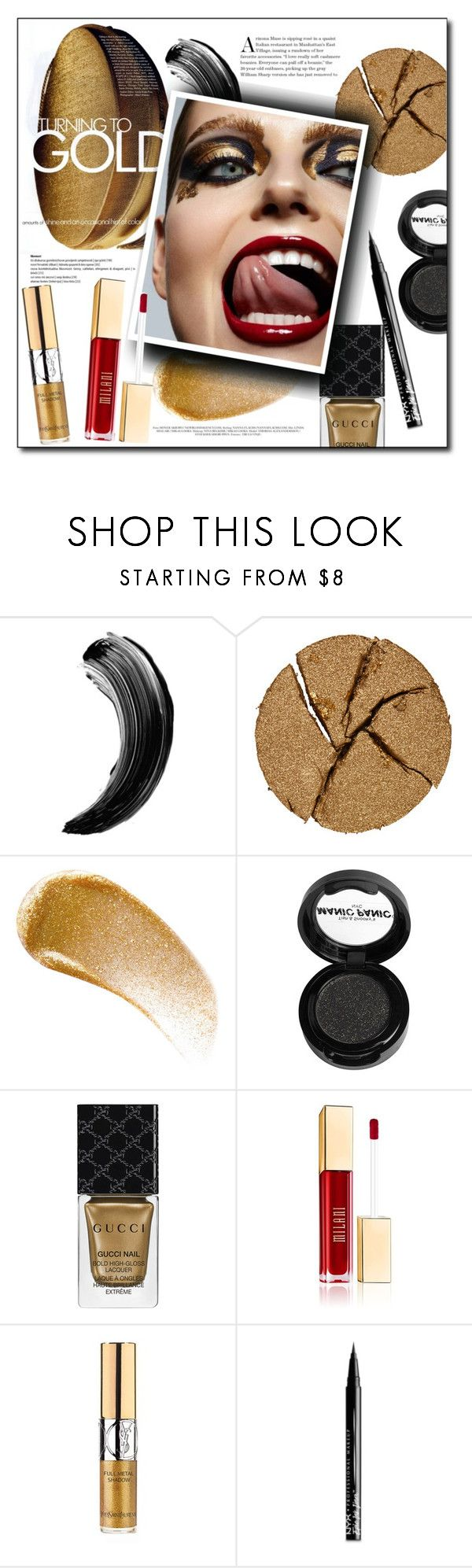 """Gold Beauty"" by fashion-film-fun ❤ liked on Polyvore featuring beauty, Pat McGrath, BBrowBar, Manic Panic NYC, Gucci, Yves Saint Laurent, NYX, Beauty and GoldBeauty"