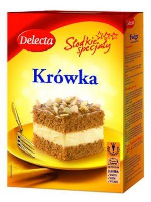 DELECTA 530g Krówka Ciasto  • delikatne ciasto z kremem • miodowo-korzenny aromat • słodka polewa toffi • sprawdzony i prosty przepis