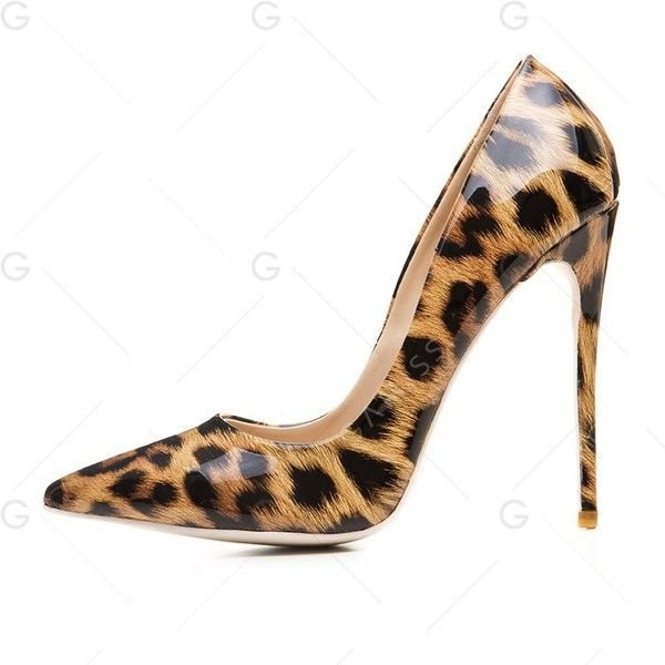 Leopard Print Pattern 34 Basic Pump Patent Leather Stiletto Heel ($38) ❤ liked on Polyvore featuring shoes, pumps, gamiss, leopard print pumps, print shoes, patterned pumps, stilettos shoes and leopard stilettos