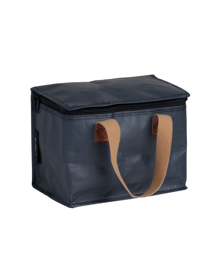 Cafe Small - Poly $19.95 Insulated Lunch Bag Water resistant construction Leather look handles Custom Kollab woven branding and graphic placement L 22cm, H 17.5cm, D 14.5cm