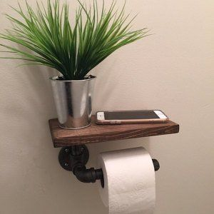 Suporte de papel higiênico industrial com prateleira, tubo de encanamento de decoração industrial, banheiro, porta tp   – Déco