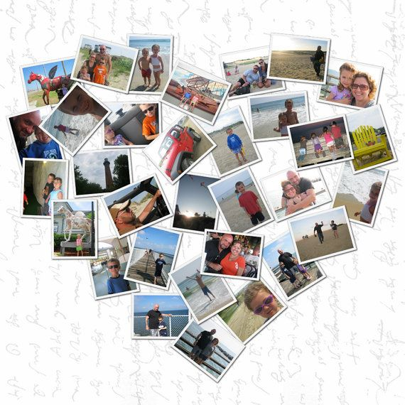 heart shaped Photo Collage on canvas or by GeezeesCustomCanvas, $180.00