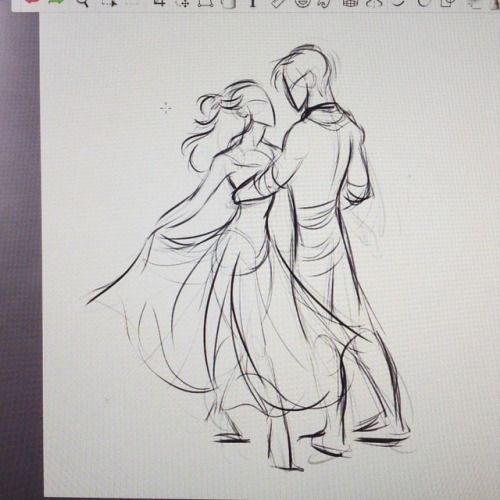 Couple pose, dancing