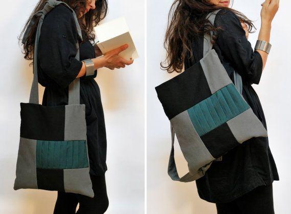 Backpack-Messenger bag/ Gray-Black-Green backpack/ Multiple Canvas bag/ Minimal Handmade bag/ All day Patchwork bag