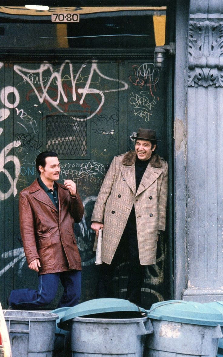 Donnie Brasco - Johnny Depp and Al Pacino sharing a laugh on set #GangsterMovie #GangsterFlick
