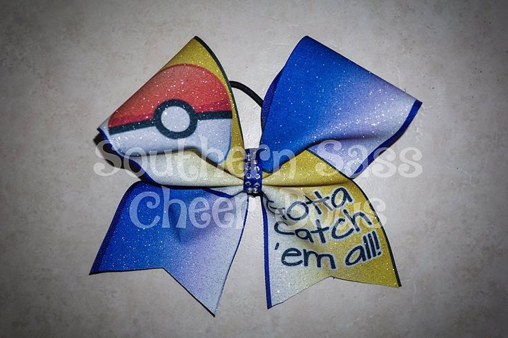 Gotta Catch em All Pokemon glitter Cheer Bow by SouthernSassCheerBow on Etsy