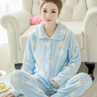 Winter pajamas women thick coral cashmere Korea autumn  lovely long sleeved cardigan flannel home service suits pyjamas women