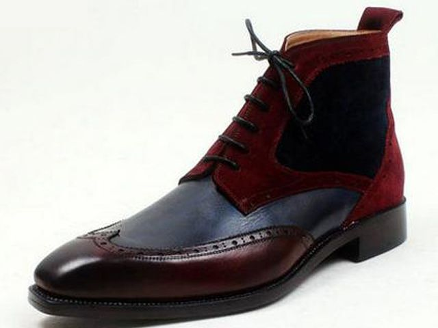 Navy & Bordeaux, calfskin & suede, wingtip brogue boot