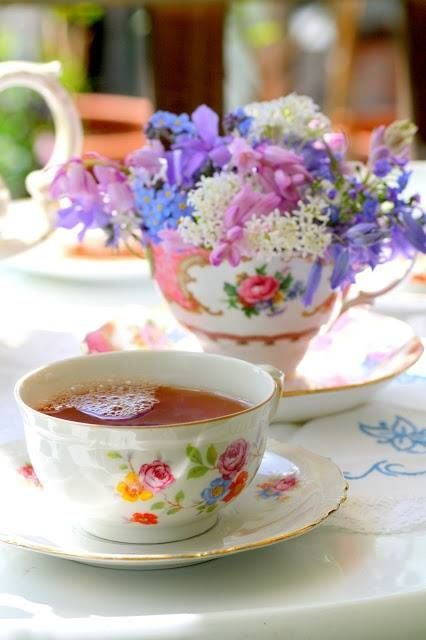 Cup of Flowers & a Cup of Tea spring flowers pretty tea bouquet table teacup -- two of my favorite things