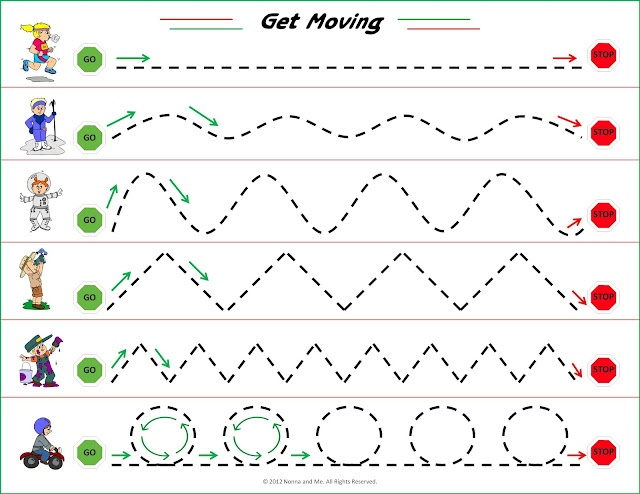 Printable, early printing skills: Nonna and Me: Get Moving