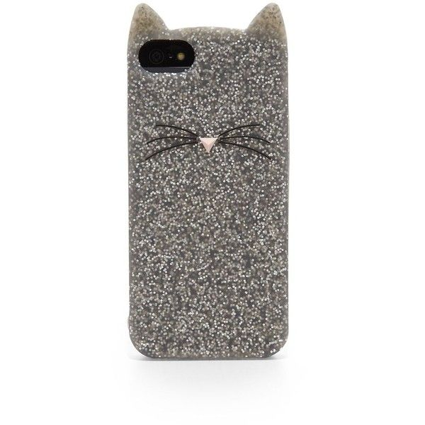 Kate Spade New York Glitter Cat Silicone iPhone 5/5s Case ($35) ❤ liked on Polyvore featuring accessories, tech accessories, phone cases, phone, cases, iphone, apparel & accessories, silver, silicon iphone case and glitter iphone case