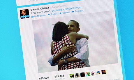US election 2012: hug photo makes social media history   Media   The Guardian