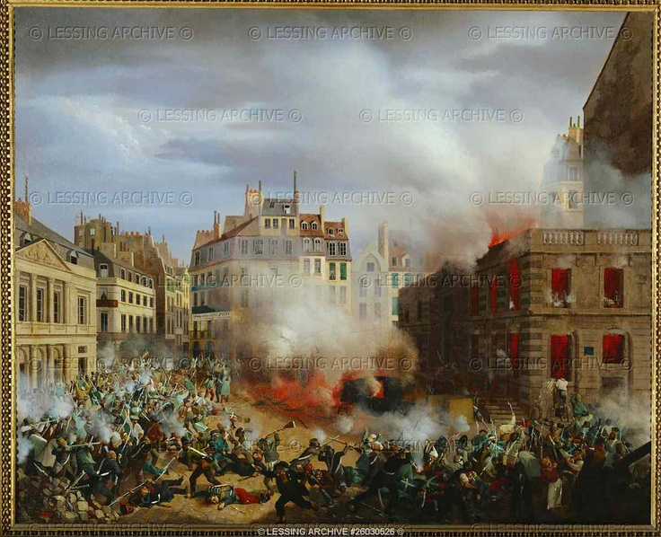 Revolution of 1848: the revolutionaries try to storm   the Palais Royal; because of the fierce resistance of   the garrison, they set fire to the palace water tower.   Many defenders die asphyxiated; the others surrender.   Canvas, 59,5 x 73 cm