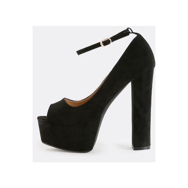 87a5807d1494 SheIn(sheinside) Peep Toe Platform Heels BLACK ( 48) ❤ liked on Polyvore.