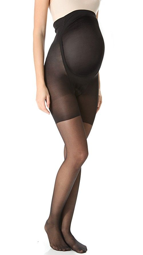 SPANX Mama Spanx Pantyhose | Slimming support for expectant moms, these sheer maternity tights feature under-belly support and a soft tummy panel. Reinforced toe. Sleek, cling-free finish. No panty lines.  85% nylon/15% spandex. Hand wash. Made in the USA.