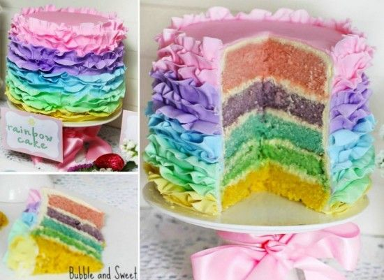 Pastel Rainbow Ruffle Cake Tutorial    -for granddaughters,