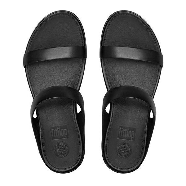 FitFlop Banda™ Leather Slide Sandals (465 PEN) ❤ liked on Polyvore featuring shoes, sandals, black, black sandals, strappy sandals, strappy shoes, black strap sandals and leather shoes