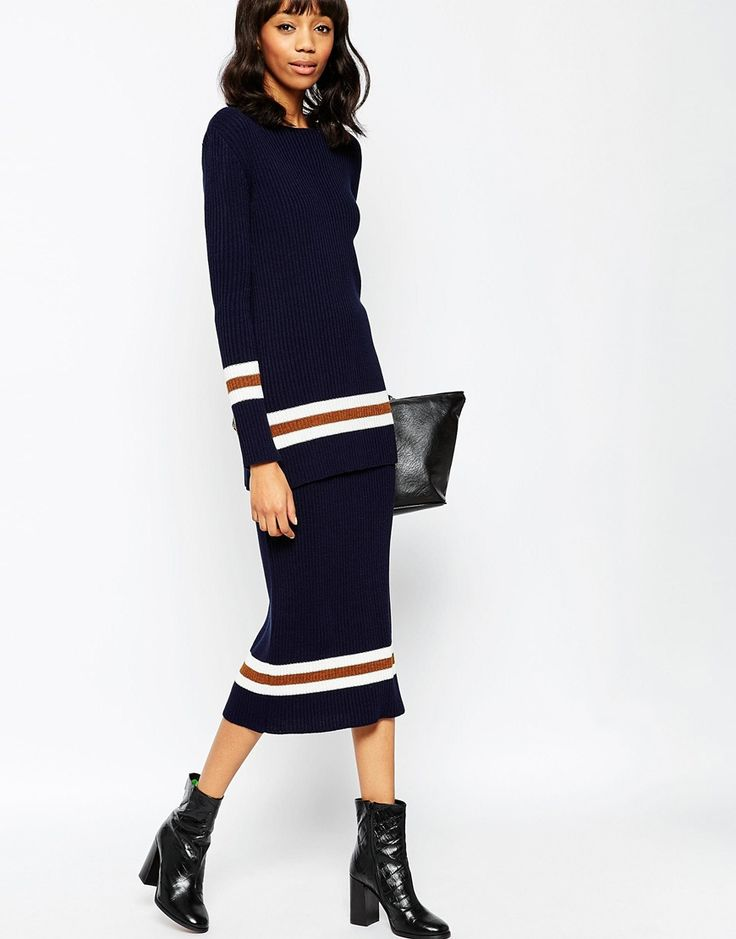 ASOS+co-ord+Maxi+Skirt+in+Rib+Knit+with+Striped+Trims