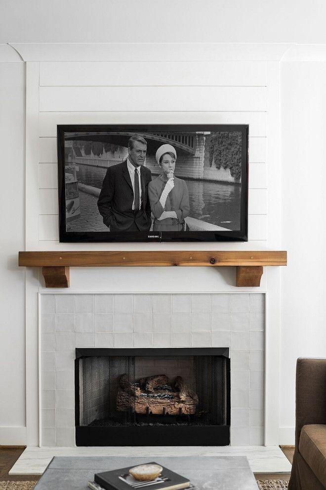 Fireplace 4x4 Glazed White Tile Timber Mantel And Shiplap