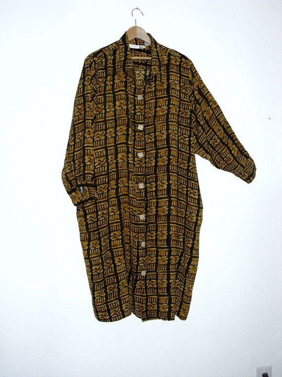 Sale 30% off Vintage Plus size  Shirt Dress Tribal by KheGreen