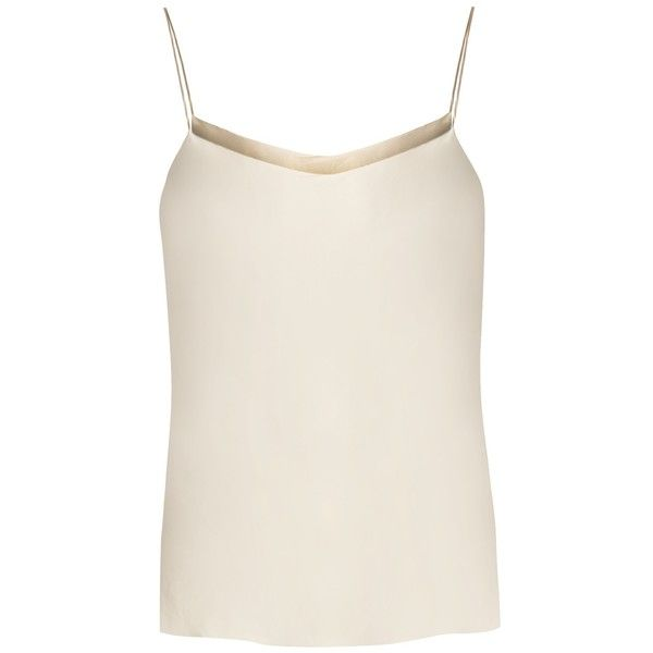 The Row Biggins stretch-satin cami top (1,220 ILS) ❤ liked on Polyvore featuring tops, cream, white singlet, spaghetti-strap tank tops, cami top, anchor tank and strappy tank top
