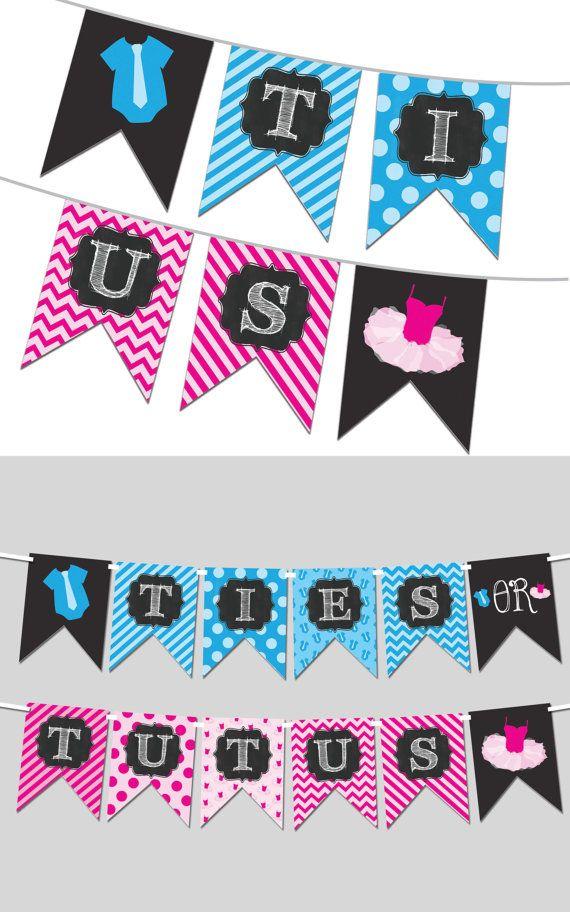 Ties or Tutus Gender Reveal Banner - Printable Banner PDF - DIY Printable Banner - Instant Download