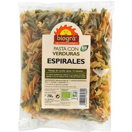 ESPIRALES PASTA CON VERDURAS BIO BIOGRÁ  -  SORRIBAS 250 g.