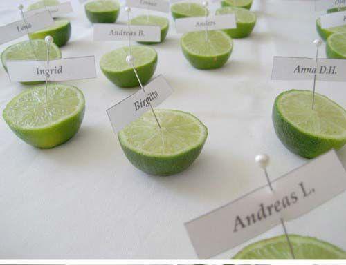 originell und frisch - Tischkarten mit Limetten - das duftet nach Sommer :)
