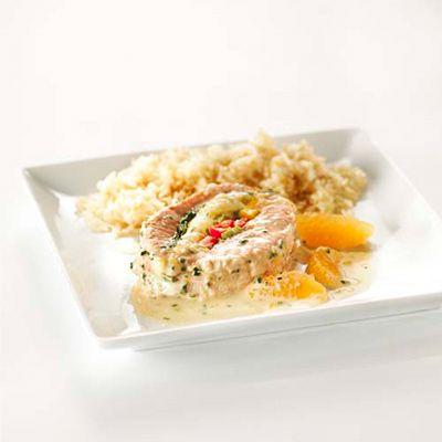 Tournedos de saumon Atlantique, sauce coco-clémentines