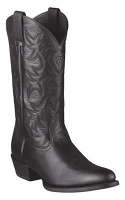 Ariat Heritage Western R-Toe Cowboy Boots for Men - Black Deertan - 11.5 M