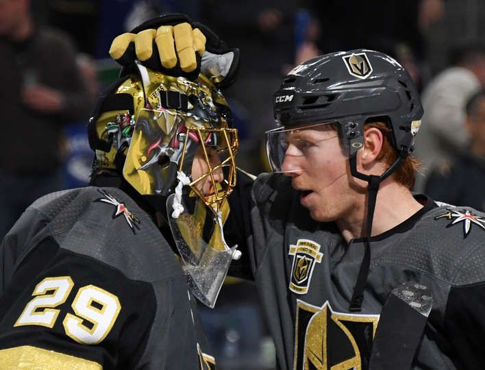 LAS VEGAS, NV - FEBRUARY 23: Marc-Andre Fleury #29 and Cody Eakin #21 of the Vegas Golden Knights celebrate on the ice after the team's 6-3 victory over the Vancouver Canucks at T-Mobile Arena on February 23, 2018 in Las Vegas, Nevada. (Photo by Ethan Miller/Getty Images)