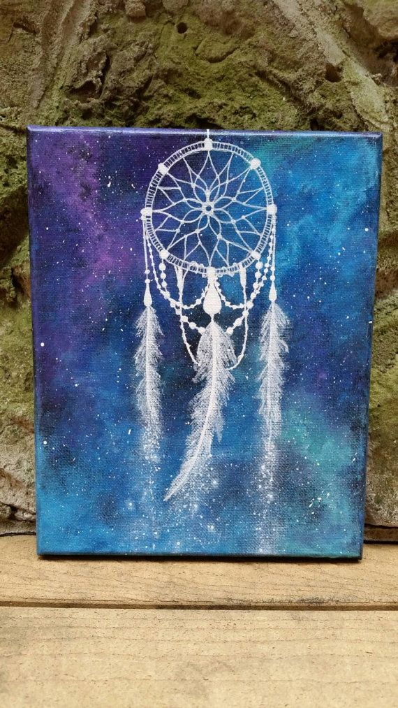 Dreamcatcher painting, space art, hippie painting, free spirit, gypsy, boho…