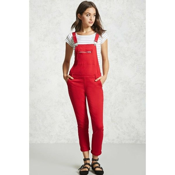 Forever21 Skinny Denim Overalls ($33) ❤ liked on Polyvore featuring jumpsuits, red, overalls skinny jeans, super skinny jeans, red skinny jeans, cut skinny jeans and zipper jumpsuit