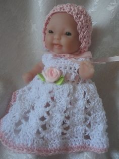 Free Doll Dress Crochet Pattern for Berenguer 5 Inch Doll Baby