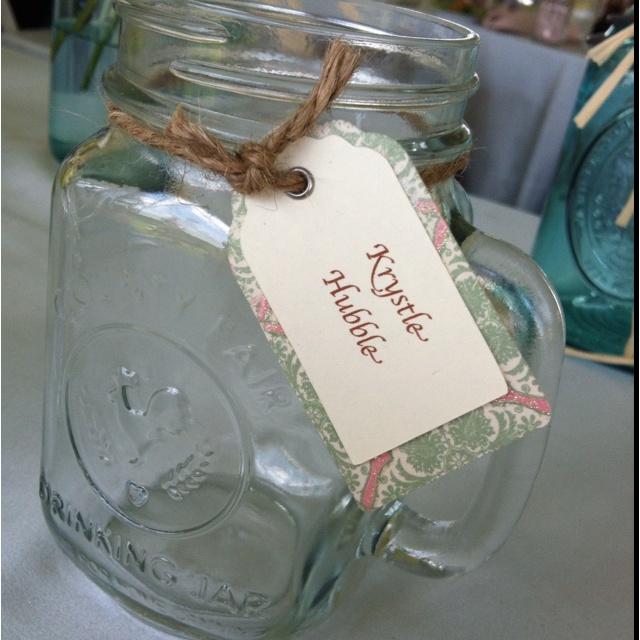 mason jar mugs with name tags for tables at meg s wedding weddings