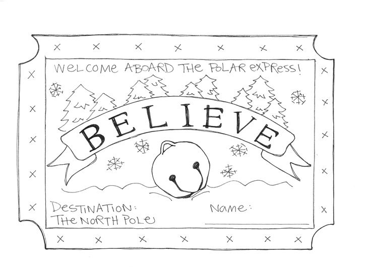 polar express ticket coloring page - Google Search