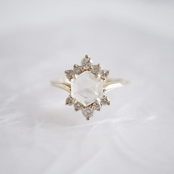 14KT Mondstein Rosie Diamantring, #diamantring #mondstein #rosie