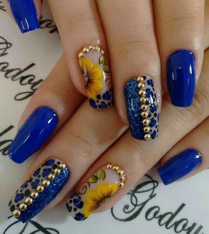 Blu girasole maculato borchie strass