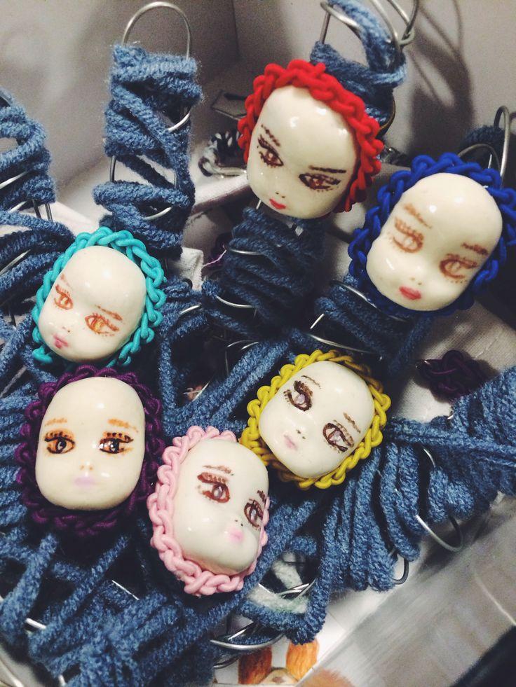 Baby faces, jewellery, handpaint, handmade, design ,clay, crochet