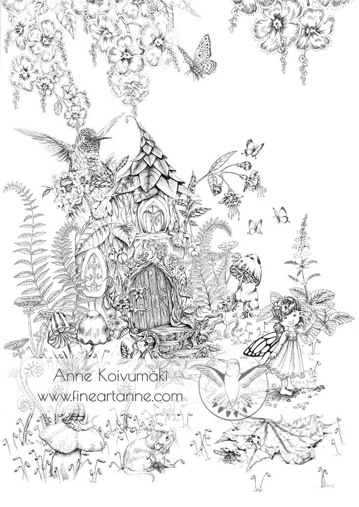 """FAIRY HOUSEThis digital file includes one """"Fairy house"""" coloring page for kids and adults.Payment via Paypal.Share your work #fineartanne or #coloringfineartanne on instagram and Facebook!Content:- Instant download- Printable as big as A1 (Recommended to print as big as possible because of the amoun"""