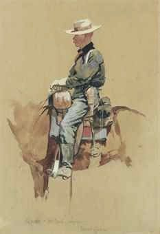 Frederic Remington (1861-1909) A Packer, Fort Grant, Arizona signed 'Remington' and inscribed with title (lower center) watercolor and gouache on paper 13 ½ x 9 in. (34.3 x 22.8 cm.) Executed circa 1888.