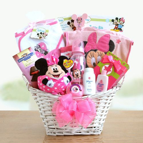 Minnie Mouse Basket of Baby Girl Surprises