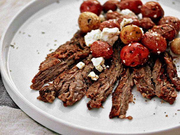 Herb Skirt Steak With Lemon-Feta Potatoes | Recipe | Skirt steak ...