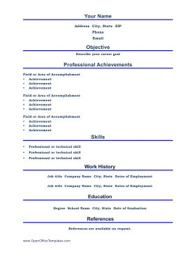 Bright Blue Lines Divide This Printable Resume Into Professional  Achievements, Skills And Education. Free