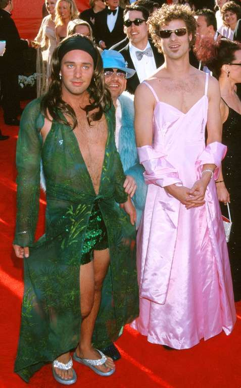 The Most Non‐Oscars Oscar Dresses of All Time:     Trey Parker and Matt Stone – 2000:    When attending your first Oscars, it's best to take a style cue from the red carpet pros, like these two South Park creators did, recreating  Jennifer Lopez and Gwyneth Paltrow's iconic ensembles.