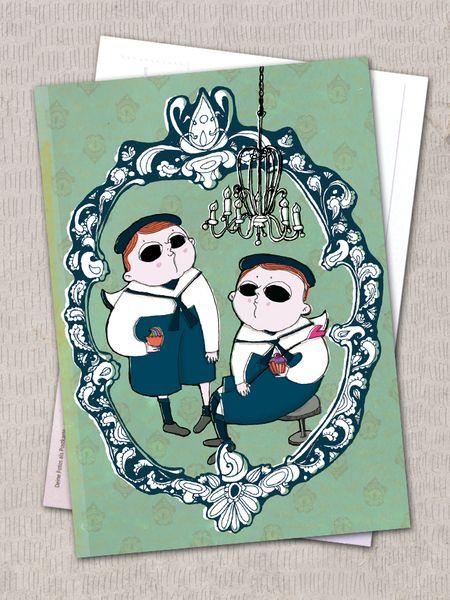 """Postkarte """"zwei Buben"""" von Granatapfel - Onlineshop mit Illustriertem. auf DaWanda.com"""