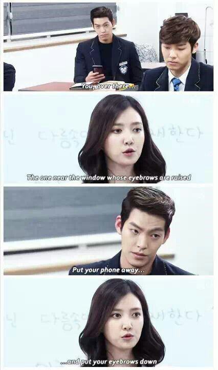 "Lol I laughed so hard at that ""Heirs"" Poor Kim Woo Bin obviously the writes were poking fun at him."