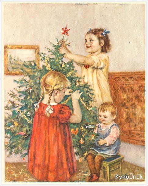 Прикольные картинки, открытка ссср дети несут елку